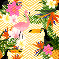 Tropical Geometric Summer. Tropical summer seamless vector pattern background.
