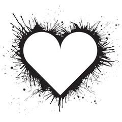 White heart shape on black paint splashes background. Vector illustration.