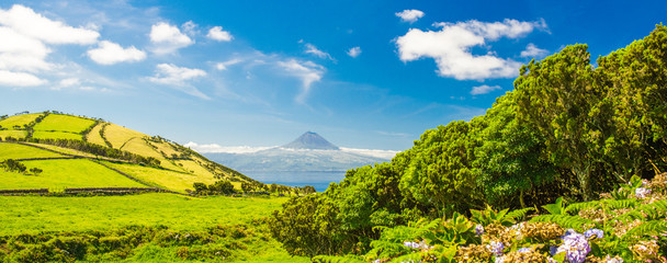 Peak View from San Jorge Island in Portugal. Landscape of the Azores islands