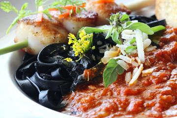 close up black pasta