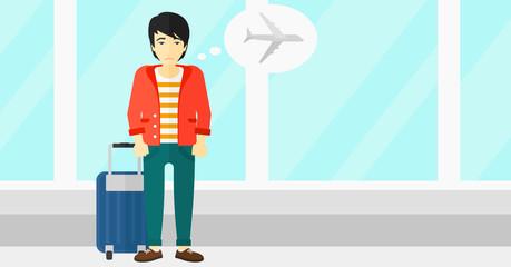 Man frightened by future flight.