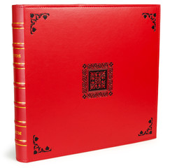 The color red photo albums on wite backround