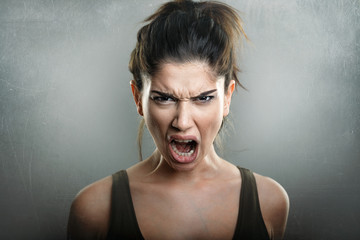 Rage scream of angry hateful woman