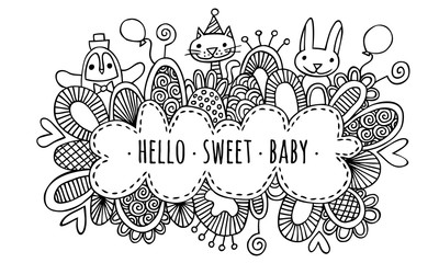 Hello Sweet Baby Hand Drawn Doodle Vector Lineart Black and White
