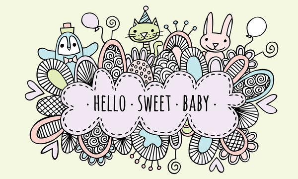 Hello Sweet Baby Hand Drawn Doodle Vector Lineart
