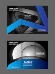Vector modern tri-fold brochure design template with blue background