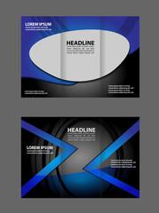 Wave blue design template for tri-fold brochure