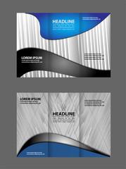 Vector modern blue tri-fold brochure design template background