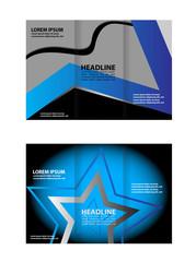 Vector blue tri-fold brochure design template