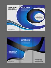 Tri-fold brochure design with blue soft wave