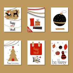 Set of greeting cards. Congratulations on Christmas and New Year