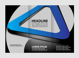 Wave design template for tri-fold brochure
