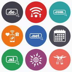 Top-level domains signs. De, Com, Net and Nl.