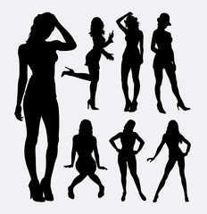 People sexy female activity silhouette. Good use for symbol, web icon, logo, sign, sticker design, mascot, or any design you want. Easy to use.