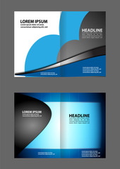 Vector empty brochure template design with black and blue elements