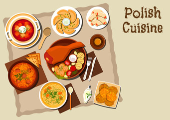 Polish cuisine with pork leg and grilled vegetables, meat and cabbage stew bigos, noodle chicken soup, vegetarian dumplings , beet soup, potato pancakes, cookies with jam and bottle of beer