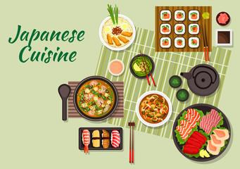 Japanese cuisine with maki and nigiri sushi, sashimi with salmon teriyaki, tuna, cuttlefish and scallops, miso soup with pork, green tea and soup with tofu and shrimps, beef with mushrooms