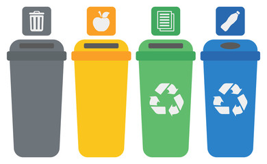 Four colored recycling bins.