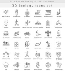 Vector Ecology ultra modern outline line icons for web and apps.