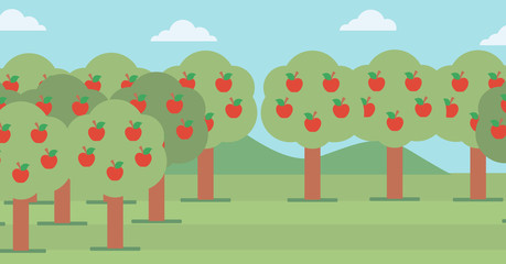 Background of  trees with red apples.