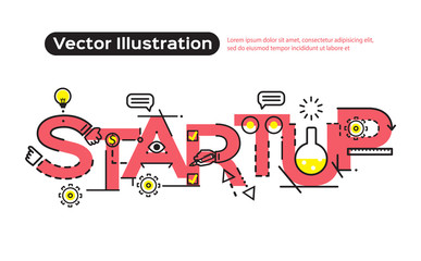 Flat line design, concepts of words startup, bulb an idea, flat design banners for website and mobile website