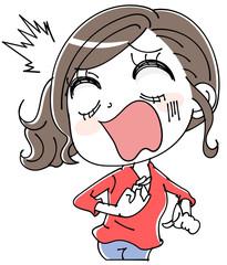 ショックを受ける女性のイラスト