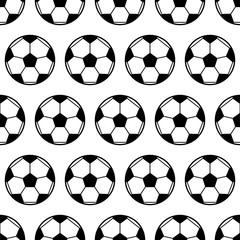 Soccer ball, black and white seamless pattern. Sports background. Vector