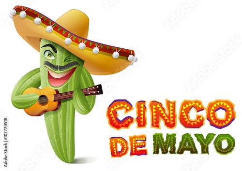 Cinco de mayo mexican cactus in sombrero playing guitar greeting mexican cactus in sombrero playing guitar greeting card template m4hsunfo