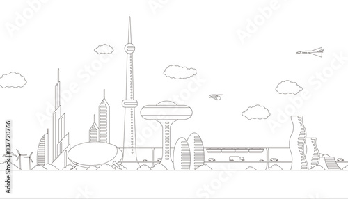Modern Cityscape Panorama View Futuristic Buildings And