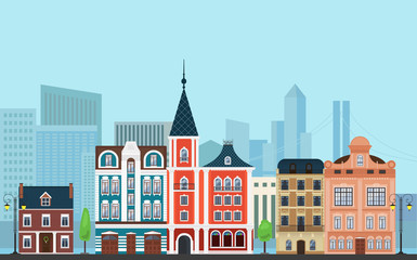 Vector Urban landscape illustration. Old buildings with modern  skyscrapers in the background.