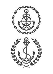 marine symbols on a white background
