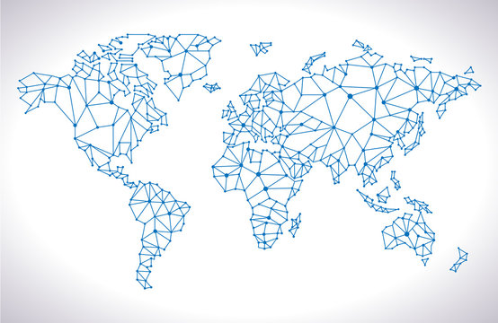 Abstract computer graphic Triangle world map,  Vector illustration
