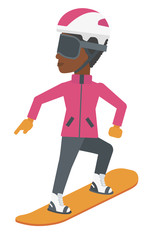 Young woman snowboarding.