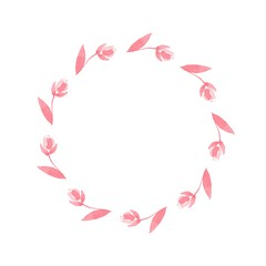 Pattern of Roses. Wreath 2. Watercolor floral frame. Isolated on white background