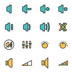 Trendy flat line icon pack for designers and developers. Vector line speaker icon set, speaker icon object, speaker icon picture, speaker image - stock vector