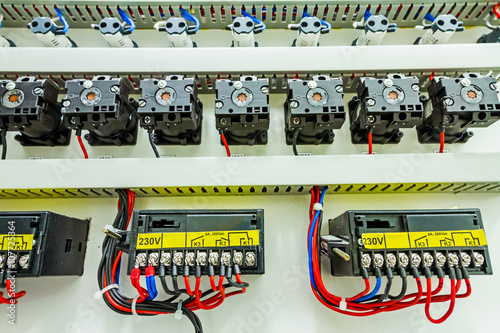 electrical control panel in distribution fuse box
