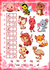 Educational rebus game for preschool kids.