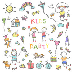Kids party doodles for the design of childrens parties.