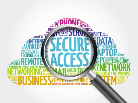 Secure Access word cloud with magnifying glass, business concept