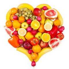 Fruits and vegetables isolated in the form of heart