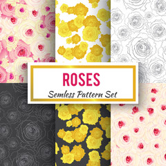 seamless roses pattern set