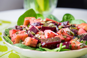 Beautiful Spring Salad with Beet and Pear, Close-up