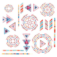 Watercolor tribal elements set for ethnic design