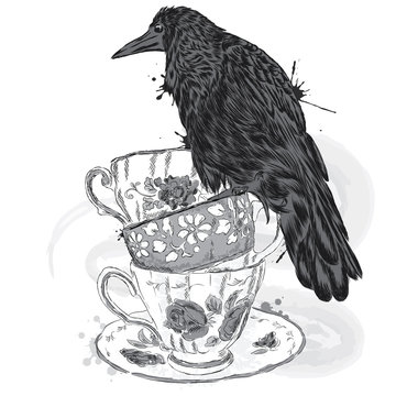 Black Crow on a branch. Vector illustration. Print on clothing, artwork poster or postcard. The poster on the bag. Bird.