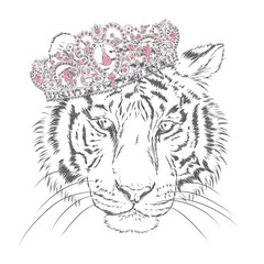 Beautiful tiger in a crown . Vector illustration.