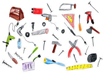 cartoon hardware tools collection, child drawing object on paper, hand drawn art picture