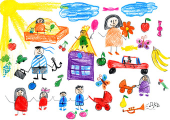 cartoon people happy lifestyle collection, child drawing object on paper, hand drawn art picture
