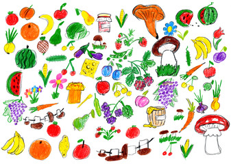 cartoon food collection, fruit and vegetables, child drawing object set on paper, hand drawn art picture