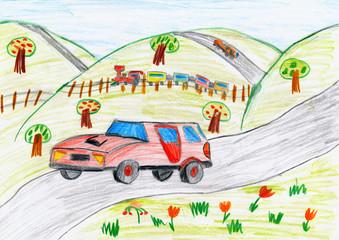 red car on countryside and steam train, child drawing pencil on paper