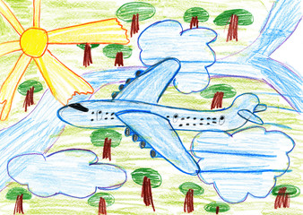 airliner fly high above the earth, child drawing pencil on paper